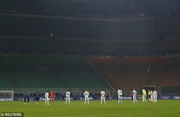 Real Madrid's and Inter Milan's players also observed a minute's silence at the San Siro