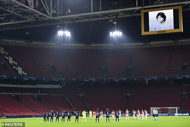 Maradona was also remembered in Amsterdam as Ajax andMidtjylland paid tribute