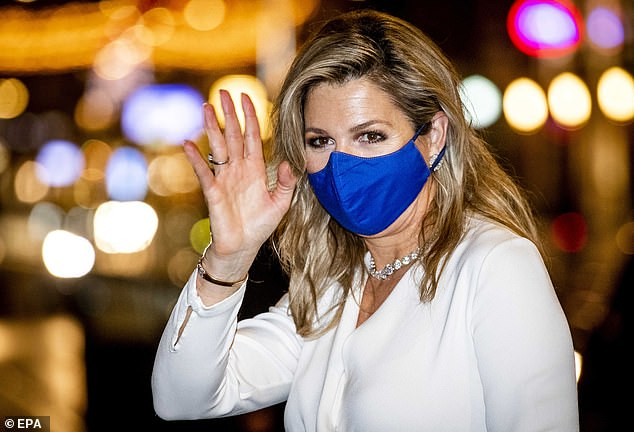 Mother-of-three Maxima stopped to wave to royal fans ahead of entering the awards ceremony