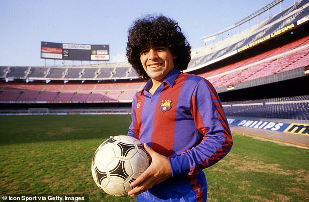 Maradona is known for his time at Napoli - but also spent two seasons at Barcelona (above)