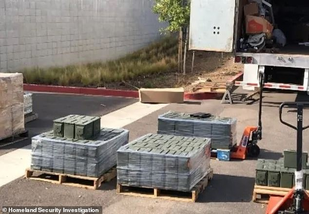 The Department of Justice said in a press release that the Sinaloa Cartel had been under close investigation since 2011 in the San Diego area. Last Friday raid at a truck yard in Otay Mesa led agents toat least 20,000 rounds of .50 caliber ammunition (picture)