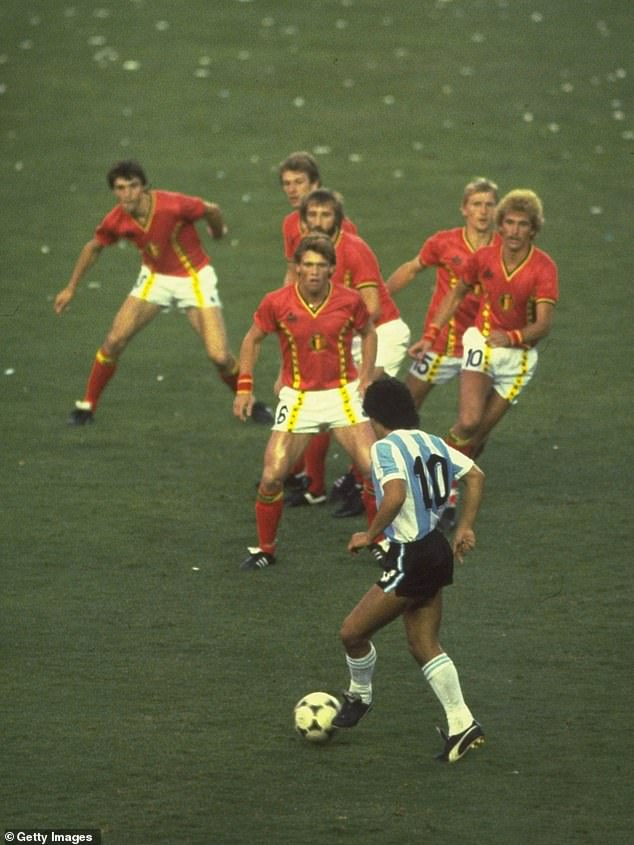 To a generation of footballers, the Argentine legend (pictured during an iconic moment against Belgium at the 1982 World Cup) was the greatest to have played the game