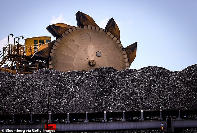 Coal is Australia's second most valuable resource behind iron ore, and last year miners shipped $10billion of metallurgic coal and $7billion of thermal coal to China (pictured, a coal bucket wheel reclaimer at the port of Newcastle)