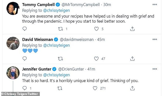 Stay strong:Alluding to her highly successful Cravings empire, comedian Tommy Campbell reminded Teigen that she is 'awesome' and that her 'recipes have helped [others] in dealing with grief and through the pandemic'
