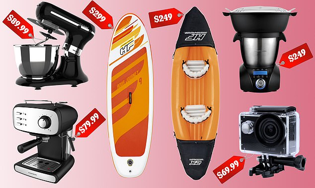 The stand mixer is part of Coles' new Best Buys Bonanza range of big-ticket items. Deals include $89.99 stand mixer, $79.99 espresso machine, $299 stand up paddleboard, $249 kayak, $249 thermo cooker and a $69.99 waterproof WiFi 4K action camera