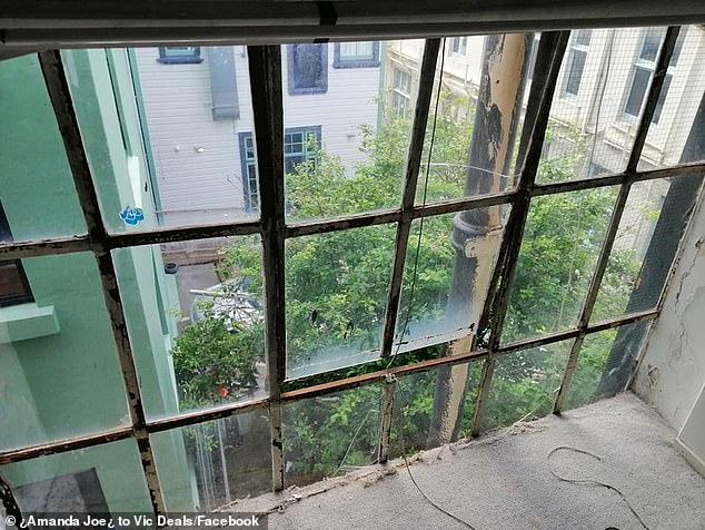 One of the bedroom windows is seen at the Wellington apartment