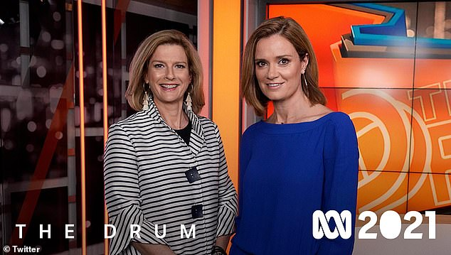 Hoax: ABC claimed the all-white lineup advert of news presenters for next season is a Twitter hoax on Wednesday. Pictured Julia Baird & Ellen Fanning