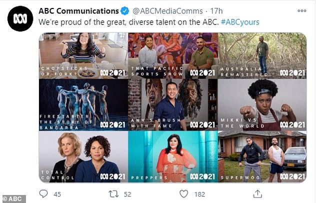 Response: The broadcaster explained the advert wasn't created by the ABC and shared a photo of all the diverse presenters appearing on TV in 2021