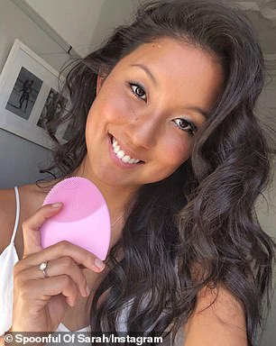 EntrepreneurSarah Davidson with a Foreo cleansing device