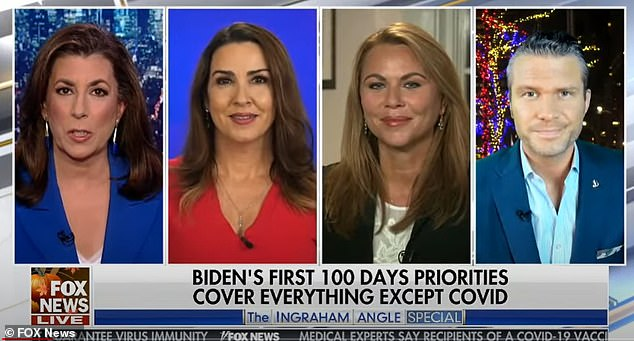 Conservative commentators (left to right) Tammy Bruce, Sara Carter, Lara Logan and Pete Hegseth also panned Biden's priorities for his first 100 days in a Fox News panel