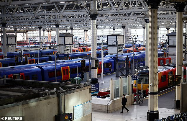 Rail networks are exploring options on how to avoid overcrowding, with sources saying measures to ban walk-on ticket sales could be introduced. Pictured: Waterloo earlier this week