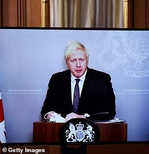 Boris Johnson at a No 10 briefing on Monday night