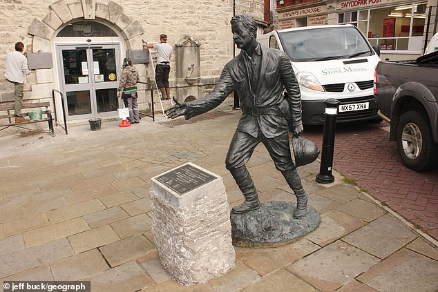 Statue in Denbigh, Wales, of Sir Henry Morton Stanley,an explorer accused in his own time of cruelty to populations in Africa. The site was a focus for a Black Lives Matter protest in June this year