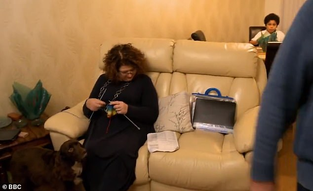 Tight squeeze: Grandmother Lynn sits on the two-seater sofa before the transformation
