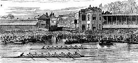 There has only eve been one dead heat - in 1877 (pictured: A drawing of the race)