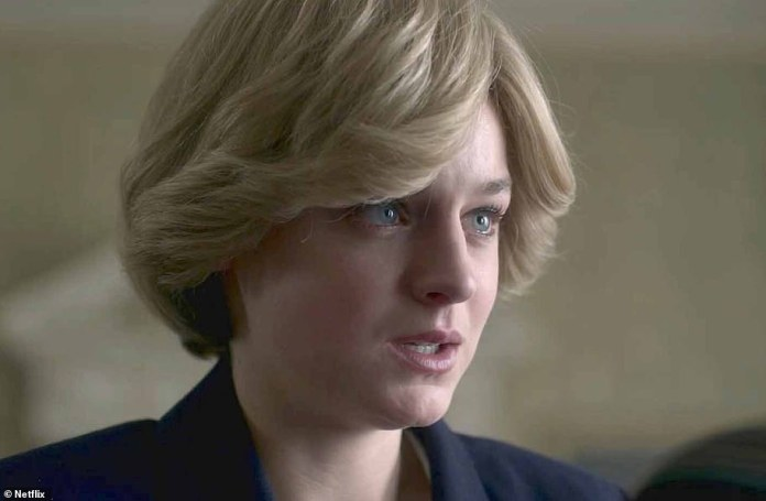 Last week Miss Corrin said the graphic portrayals of Diana's bulimia were written into the script at her request (above Emma Corrin as Diana)