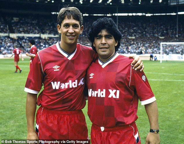 Gary Lineker played alongside Maradonafor a Rest of the World side at Wembley in 1987