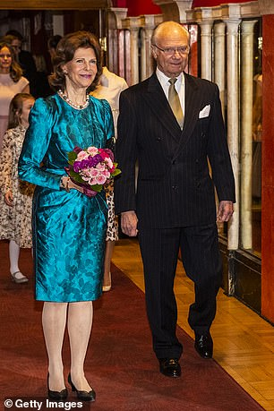 King Carl XVI Gustav and Queen Silvia (file) will be tested as a precaution after they also met the infected couple at a wedding