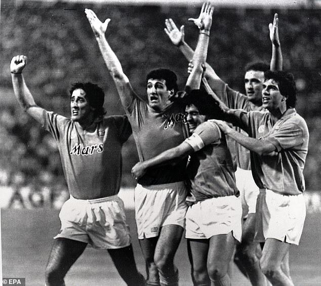 Ciro Ferrara (second left) was team-mates with Maradona (centre) for seven years at Napoli
