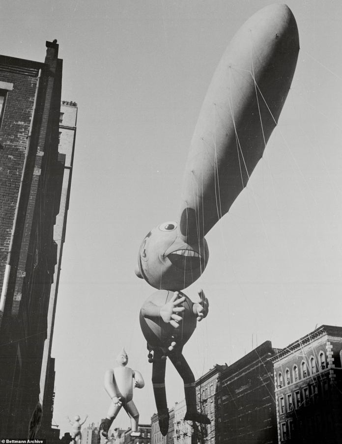 Pinocchio and his enormous nose floated over Broadway and dwarfed the street and everything in it. Gepetto's infamous puppet blown up to gargantuan proportions delighted spectators in 1937