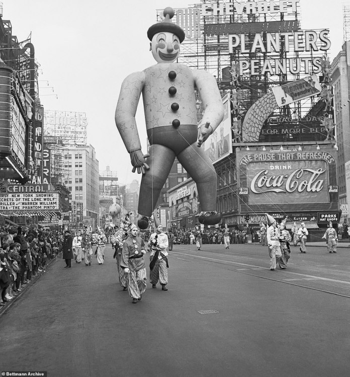 The annual Macy's Thanksgiving Day Parade began in 1924 as a way to showcase the 'World's Largest Store' and usher in the Christmas shopping season. It has since grown to be the largest parade in the world with 3.5 million visitors each year. Macy's copied the idea from their department store rival, Gimbels, who first staged a holiday parade in 1920. Above is Laffo The Clown pictured in 1940, he was recycled from the previous year's Tin Man balloon and eventually donated to the war effort for rubber in 1942