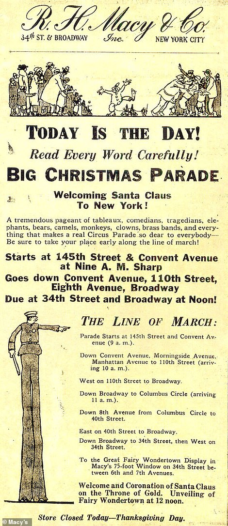 The first Macy's Parade advertisement details the line of march. The original route was six miles long, starting in Harlem and ending at Herald Square. Today the procession is 2.5 miles long