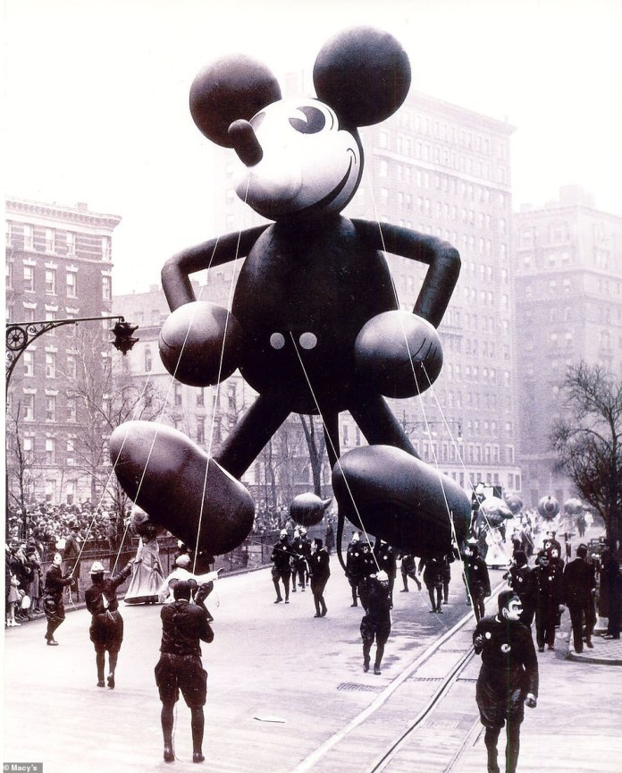 Mickey Mouse first flew in 1934. He was a collaboration between Walt Disney himself and Parade Director/ Master Puppeteer, Tony Sarg. The duo designed four different balloons before setting on this four story high version. It's team of 25 handlers had their faces painted like Mickey. Ever since, there have been multiple incarnations of Mickey over the years along with many other Disney characters like Donald Duck, Minnie Mouse, Pluto, Buzz Lightyear, and Goofy