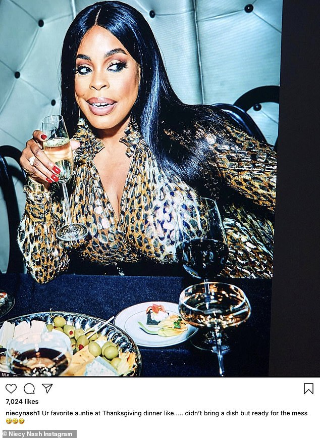 Funny lady:Niecy Nash said, 'Ur favorite auntie at Thanksgiving dinner like..... didn't bring a dish but ready for the mess'