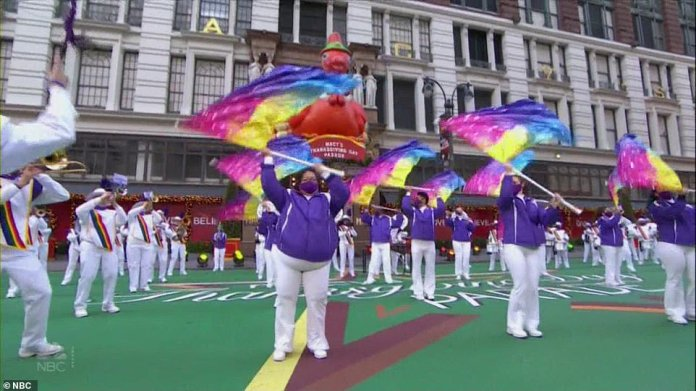Performers outside of Macy's during the 2020 Thanksgiving Day parade
