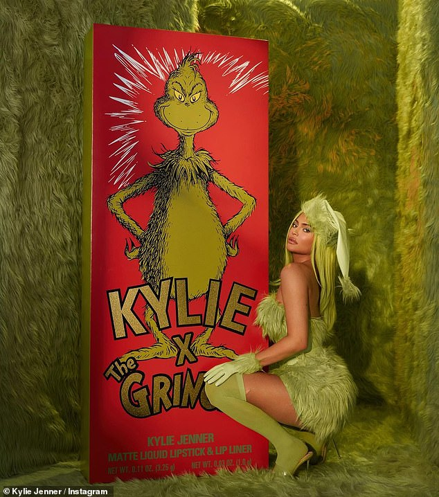 And then there is this project: The Life Of Kylie star posed in green for her Grinch line