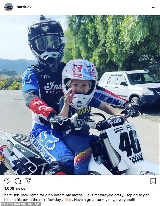 Vroom:Carey Hart was on his motorcycle and he also shared an image of a turkey he cooked for wife Pink and their kids