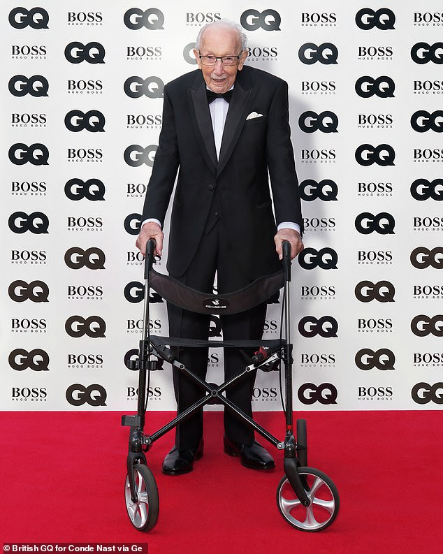 Inspiration:Captain Sir Tom Moore became GQ's Inspiration of the Year, after the centenarian raised over £32 million for charity during the first coronavirus lockdown