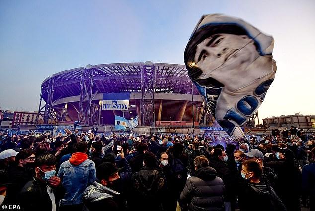 Napoli lit up their San Paolo Stadium to honour Diego Maradona following his death on Wednesday