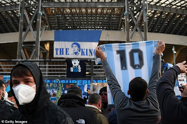 Thousands of fans have gathered outside the ground to pay their respects to the Argentine