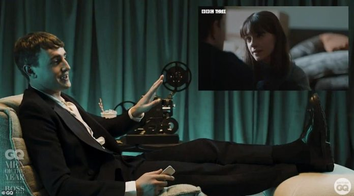 Thrilled:The actor celebrated the win by watching the final episode of the BBC drama, squirming as they replayed one of the show's steamier sex scenes