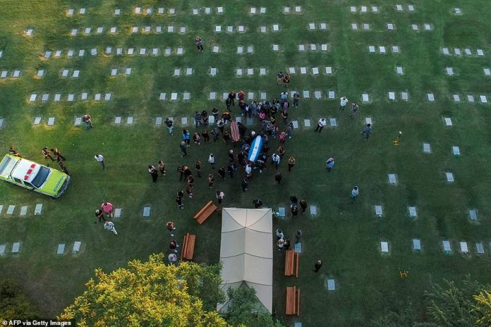 Aerial view of the burrial of late Argentine football legend Diego Armando Maradona as his family and friends carry the coffin with his remains at the Jardin Bella Vista cemetery, in Buenos Aires province, on November 26