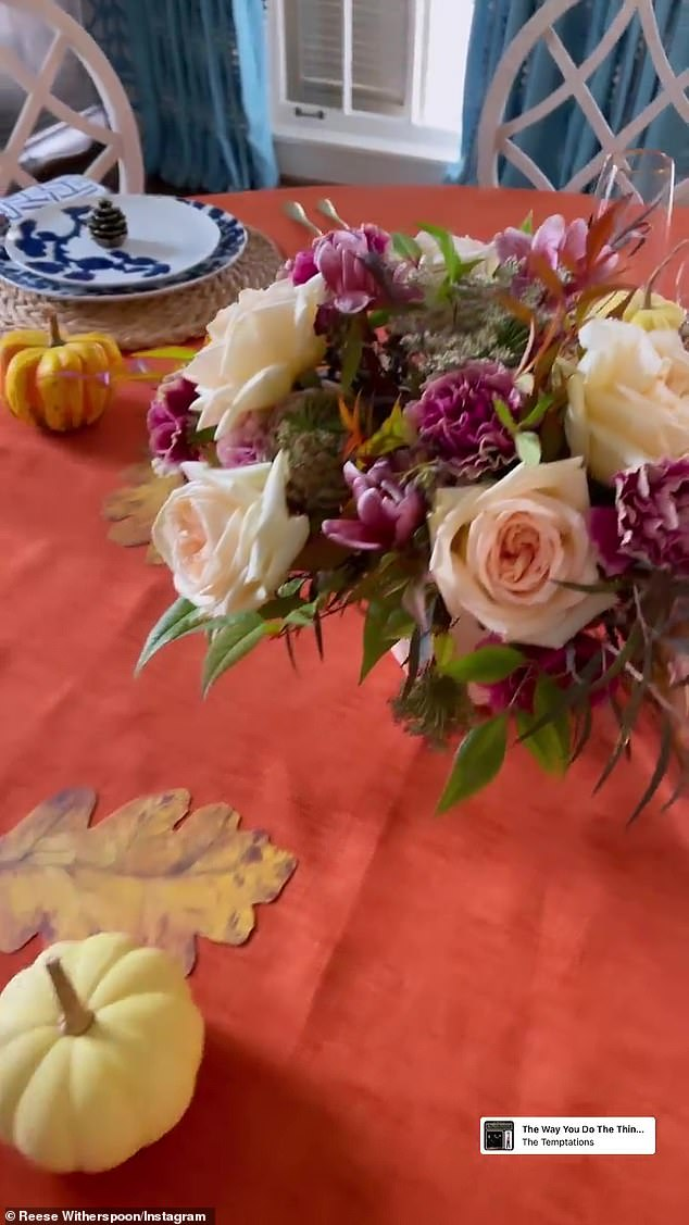 Colorful: Witherspoon proudly showed off her decorated dinner table before they ate