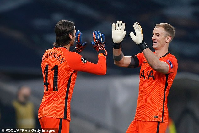 Mourinho also brought off Joe Hart (right) so Alfie Whiteman (left) could make his debut