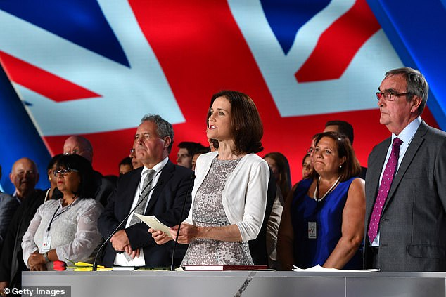 Theresa Villiers MP flanked by Bob Blackman MP (left) and Roger Godsiff MP (right) speaks as the British delegation appear on stage during the Conference In Support Of Freedom and Democracy In Iran on June 30, 2018 in Paris