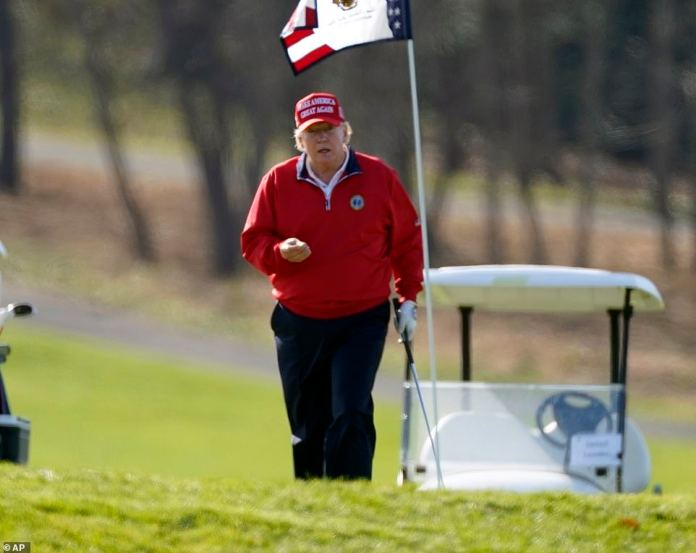 Earlier during the Thanksgiving holiday, the president spent time playing golf at his club in Sterling, Virginia