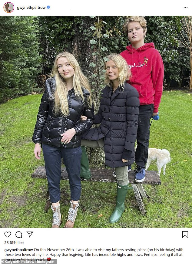 Side by side:Gwyneth Paltrow shared a rare Instagram snapshot with her children Apple, 16, and Moses, 14, as they visited her father Bruce's remains