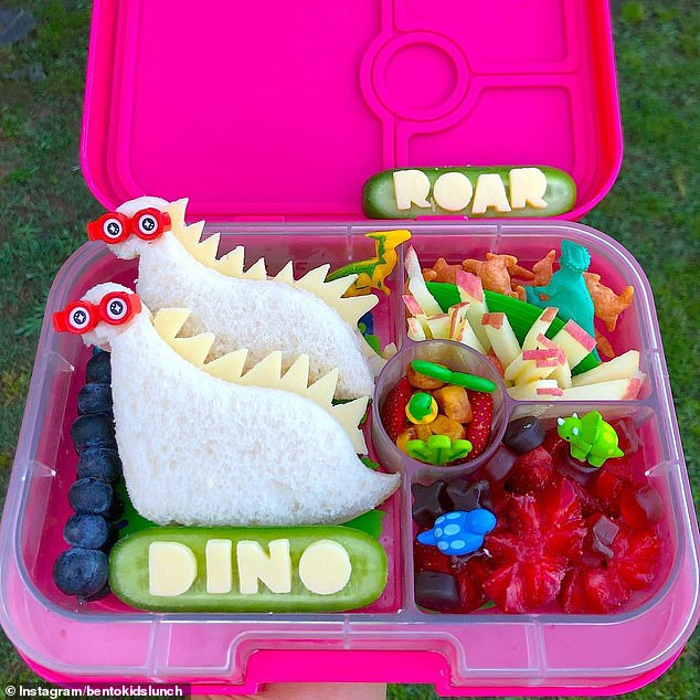 These cool dinosaur sandwiches and ROAR, DINO cheese words look epic