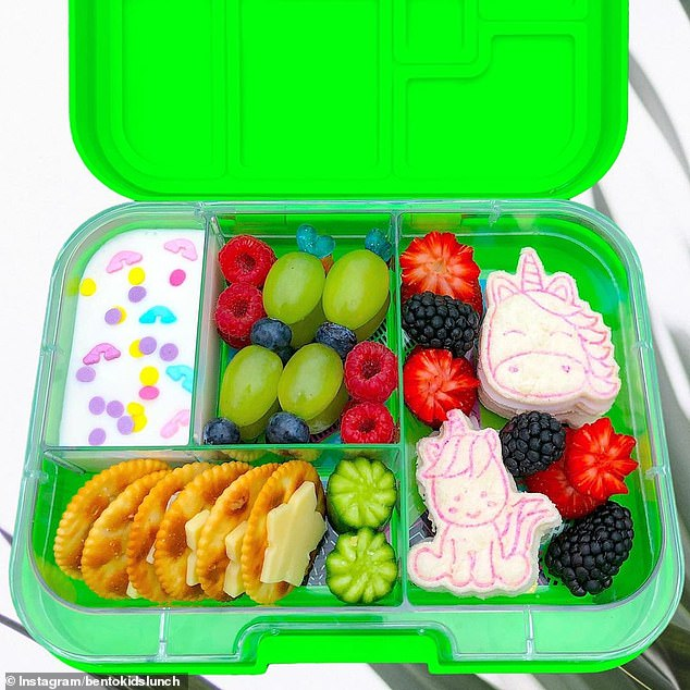 This lunchbox, complete with unicorn sandwiches and colour-sprinkled yoghurt is beautiful