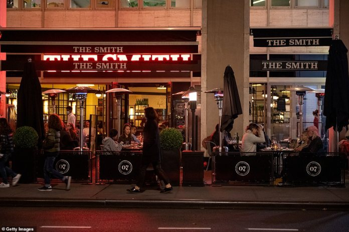 New York, New York: People eat at The Smith's outdoor seating on Thanksgiving in New York City