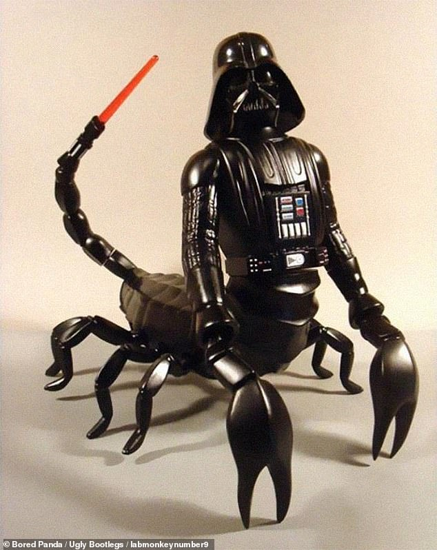 We're not sure how to feel about this toy, which looks like Darth Vader, the villain from the first Star Wars saga, mounted on the body of a scorpion