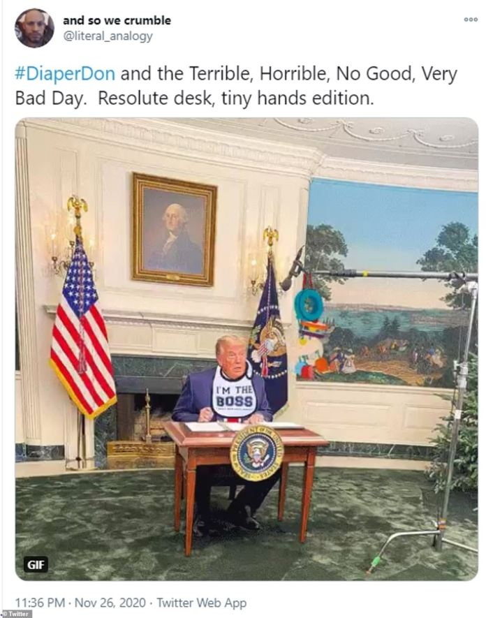 The relatively small size of the desk led to the hashtag #DiaperDon becoming a trending topic