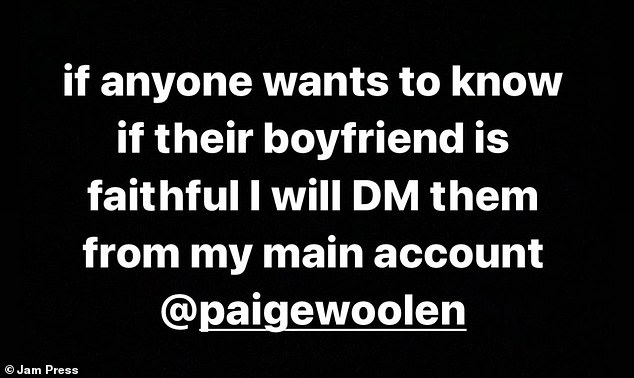 The model offered to message her followers' boyfriends in her Instagram story to start the 'experiment'