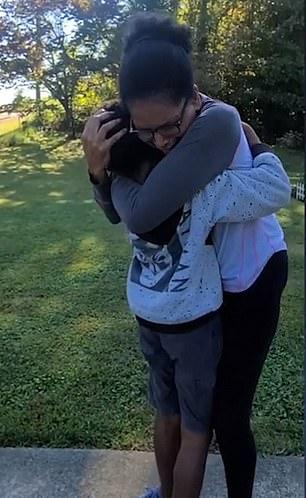 Rebecca Cowles, 57, from North Wilkesboro, North Carolina, hugged her grandson tight