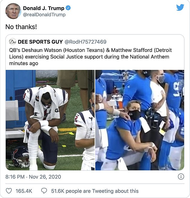 President Donald Trump wrote the words 'No thanks' attached to two pictures ofDetroit Lions and Houston Texans players kneeling ahead of their game in Detroit yesterday