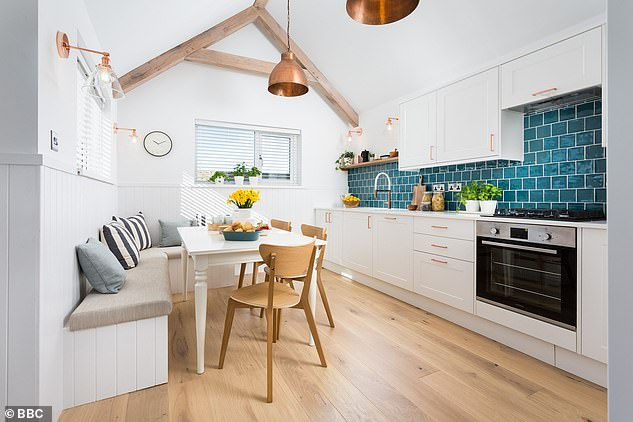Bright and airy: The room was replaced with an open kitchen-diner flooded with light